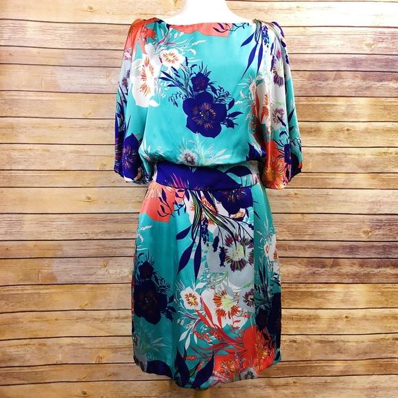 Bisou Bisou Dresses & Skirts - BIsou Bisou Floral Print Butterfly Sleeve Dress